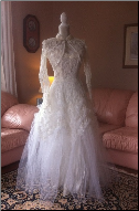 Vintage 1950s Lace and Tulle Wedding Dress with Lace Jacket in stock size 6