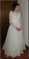 Vintage Organza over Satin and Lace Wedding Gown size 6