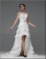Elegant Ruffles and Bows High-Low Gown for Bride