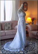 Lace and Crystals Wedding Gown for rent - size 6