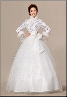 Winter Wedding Dress with Long Sleeves and Fur Edging