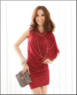 Red One Sleeve Cotton Dress