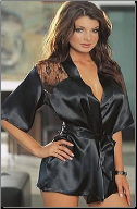 Charmeuse Robe with Plunging Back Lace Details