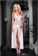 White Lace Long Gown with V Neck