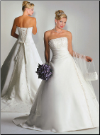 A-Line Satin Wedding Gown