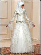 Beautiful Muslim Wedding Dress with Beading and Sequins