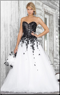 Black and White Wedding Gown with Sweetheart Neckline