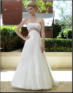 Empire Line Strapless Tulle Gown