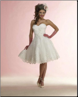 Lace over Satin Knee Length Wedding Dress