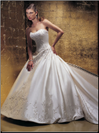 Strapless Embroidered Satin Wedding Gown