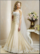 A-Line Strapless Satin with Lace Wedding Gown