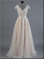 Embroidered Tulle over Satin Wedding Gown