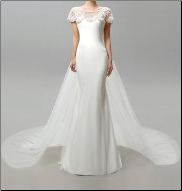 Figure-hugging Chiffon Wedding Gown