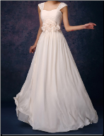 Floor Length Chiffon Wedding Gown