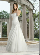 A Line Sweetheart Neckline Chiffon Wedding Dress