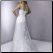 Empire Line Lace over Satin Bridal Gown showing back of gown and train