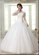 High Neckline Ball Gown with Long Lace Sleeves