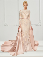 Lace Long Sleeve A-Line Gown with Watteau Train