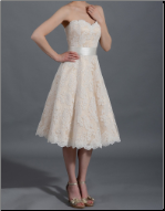 Lace over Satin Tea Length Reception Dress