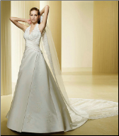 Satin and Lace Bridal Gown with Halter Neckline