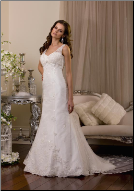 Sweetheart Neckline Embroidered Lace over Satin Bridal Gown