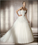 Strapless Satin Wedding Dress with Tulle and Lace