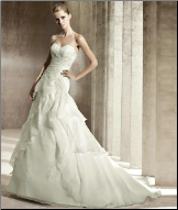 Strapless Satin and Organza Fit and Flare Wedding Gown