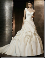One Shoulder Sweetheart Neckline Wedding Ballgown
