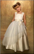 Embroidered Organza over Satin Flower Girl Dress