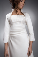 Upright Collar Satin Bridal Jacket