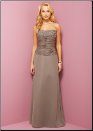 Beaded Satin Long  Bridesmaid Dress