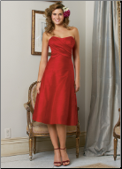 Empire Line Taffeta Bridesmaids Dress