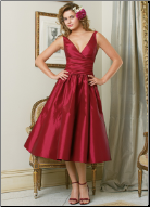 Tea Length Taffeta Bridesmaids Dress