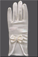 Short Satin Bridal Gloves with Bows