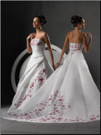 A-Line Embroidered Satin Wedding Gown