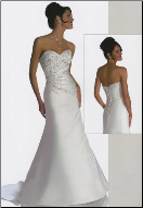 Elegant Strapless Embroidered Satin Wedding Gown