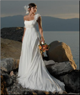 One-Shoulder Beach Wedding Gown