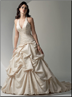 Halter Neckline Drop Waist Satin Wedding Dress