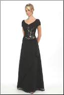 Embroidered Satin and Chiffon Mother of the Bride Dress