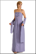 Chiffon over Satin Gown with a Wrap