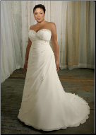 Plus Size Strapless Neckline Chiffon over Satin