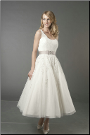 Tulle over Satin Tea Length Wedding Dress