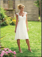 Simple Chiffon Tea Length Wedding Dress