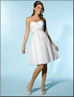 Organza Sweetheart Neckline Knee Length Wedding Dress