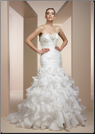 Strapless Satin and Organza Fit and Flare Gown