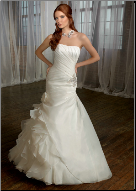 Figure Hugging Strapless Satin and Organza Gown