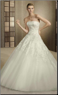 Strapless Lace and Tulle Wedding Ball Gown