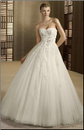 Strapless Satin and Tulle Wedding Ball Gown