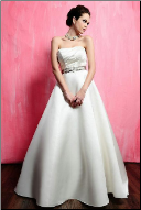 A-Line Satin Strapless Wedding Gown