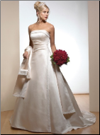 A-Line Strapless Satin Wedding Gown